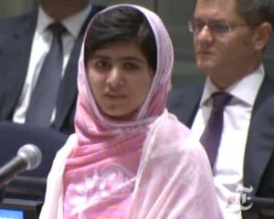 Malala Yousafzai speaks to the U.N.